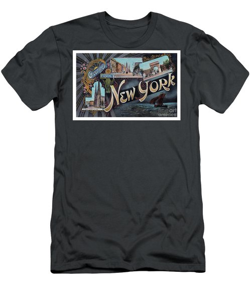 Men's T-Shirt (Athletic Fit) featuring the photograph New York Greetings - Version  1 by Mark Miller
