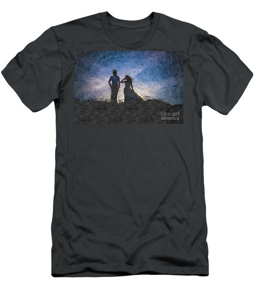 Newlywed Couple After Their Wedding At Sunset, Digital Art Oil P Men's T-Shirt (Athletic Fit)