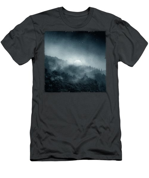 Night Shadows - Misty Forest At Night Men's T-Shirt (Athletic Fit)