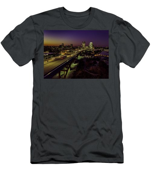 Men's T-Shirt (Athletic Fit) featuring the photograph Nightfall In Milwaukee by Randy Scherkenbach