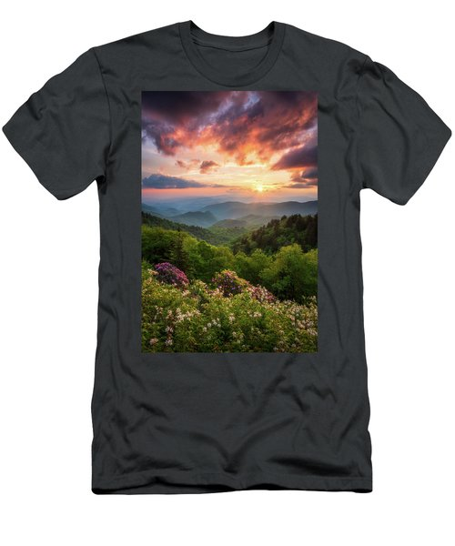 North Carolina Great Smoky Mountains Sunset Landscape Cherokee Nc Men's T-Shirt (Athletic Fit)