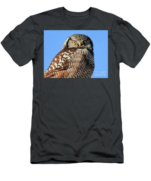 Men's T-Shirt (Athletic Fit) featuring the photograph Northern Hawk-owl by Debbie Stahre