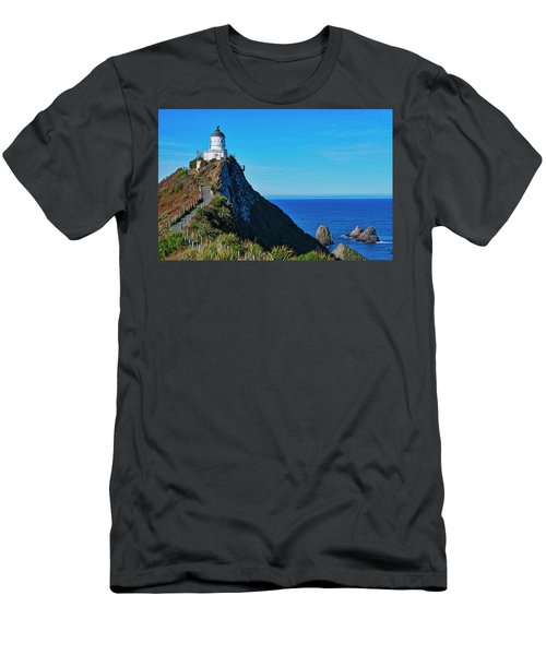 Men's T-Shirt (Athletic Fit) featuring the photograph Nugget Point Lighthouse 4 - Catlins - New Zealand by Steven Ralser