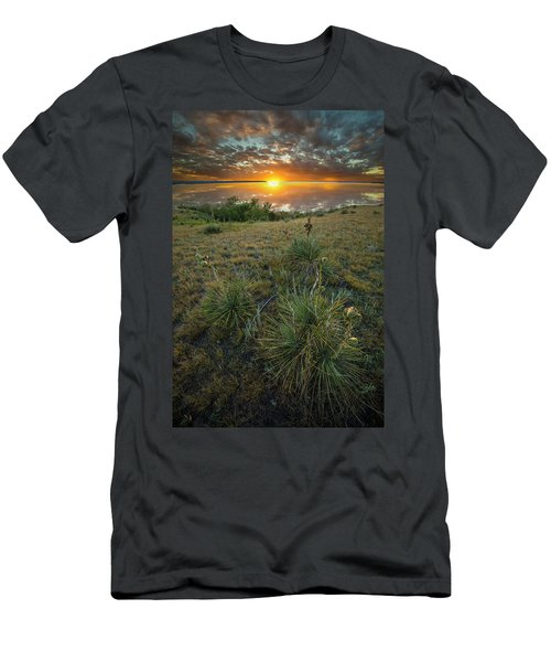 Men's T-Shirt (Athletic Fit) featuring the photograph Oahe Sunset  by Aaron J Groen