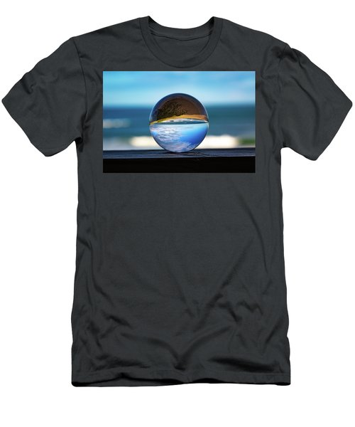 Men's T-Shirt (Athletic Fit) featuring the photograph Ocean Through The Lens Ball by Lora J Wilson