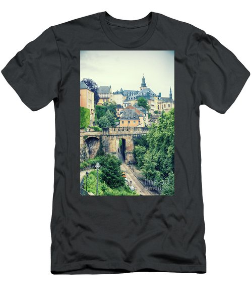 Men's T-Shirt (Athletic Fit) featuring the photograph old city Luxembourg from above by Ariadna De Raadt