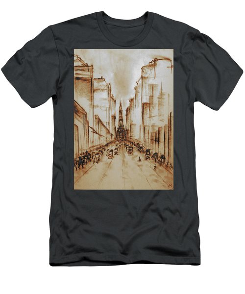 Old Philadelphia City Hall 1920 - Pencil Drawing Men's T-Shirt (Athletic Fit)