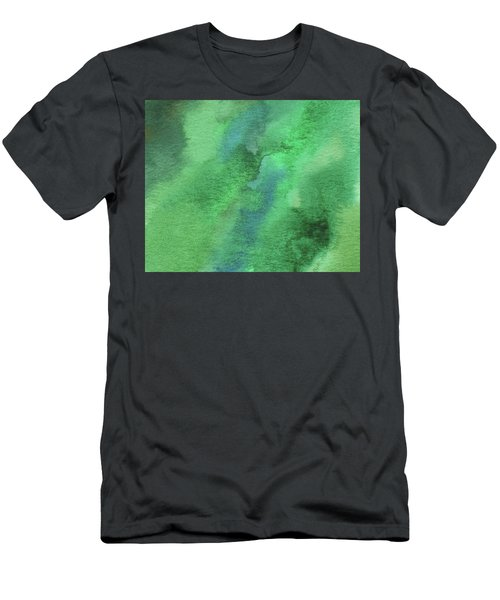 Organic Green Abstract Watercolor Wash Men's T-Shirt (Athletic Fit)