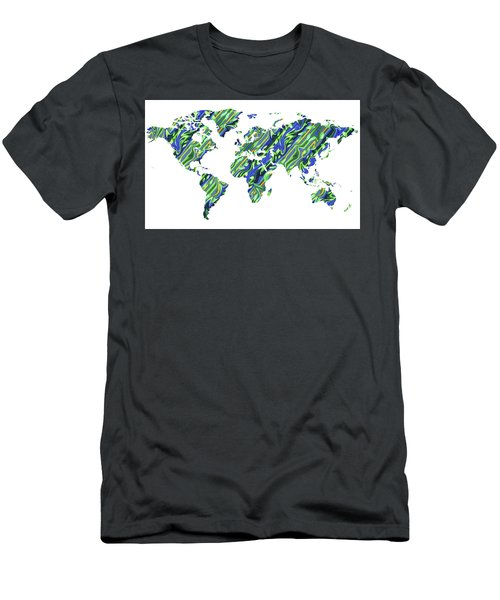 Organic Green Watercolor World Map Men's T-Shirt (Athletic Fit)