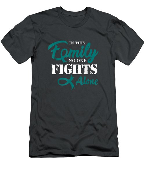 Ovarian Cancer Awareness Fight Cancer Ribbon T-shirt Men's T-Shirt (Athletic Fit)