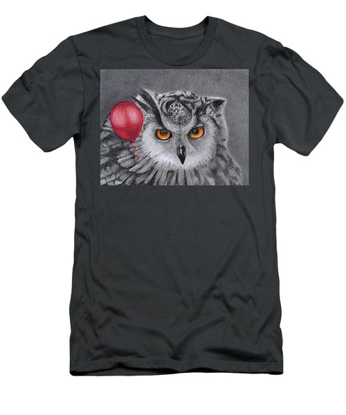Owl With The Red Balloon Men's T-Shirt (Athletic Fit)