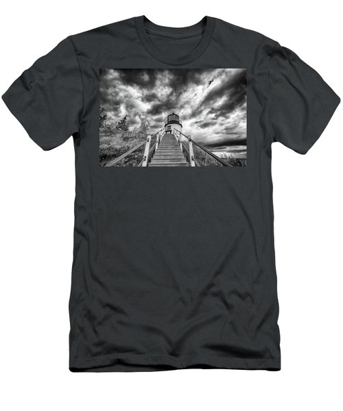 Men's T-Shirt (Athletic Fit) featuring the photograph Owls Head Lighthouse In Black And White by Rick Berk