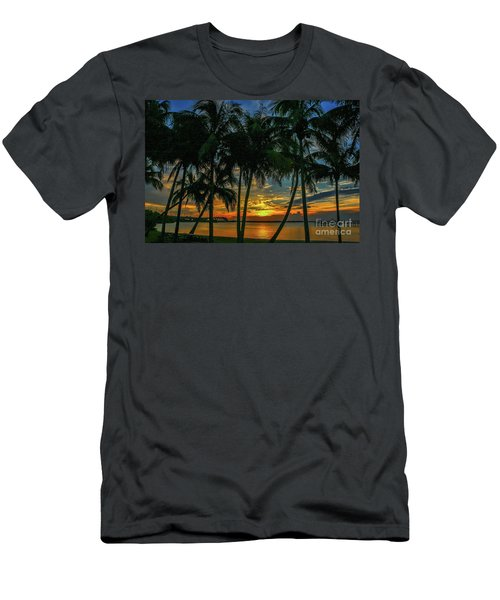 Palm Tree Lagoon Sunrise Men's T-Shirt (Athletic Fit)