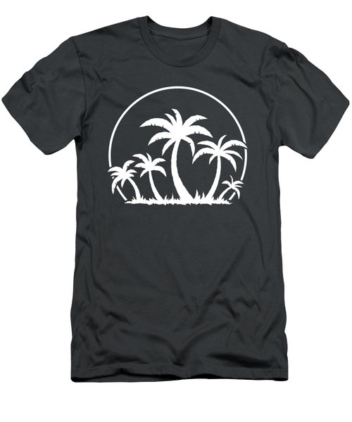 Palm Trees And Sunset In White Men's T-Shirt (Athletic Fit)