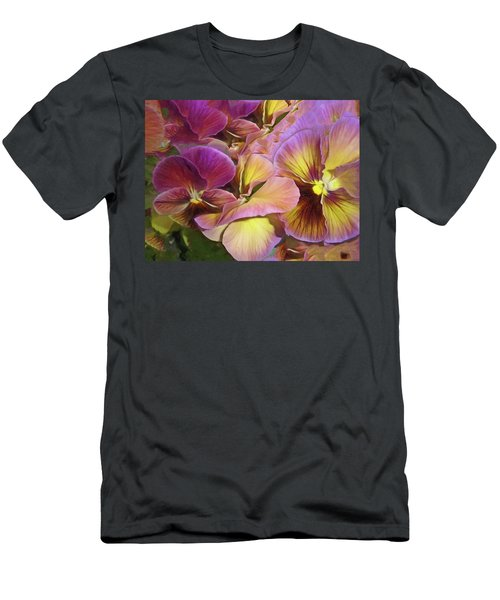 Men's T-Shirt (Athletic Fit) featuring the mixed media Pansy Field In Violet And Yellow 12 by Lynda Lehmann