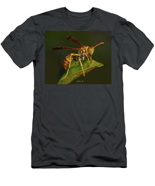 Men's T-Shirt (Athletic Fit) featuring the photograph Paper Wasp by Larry Linton