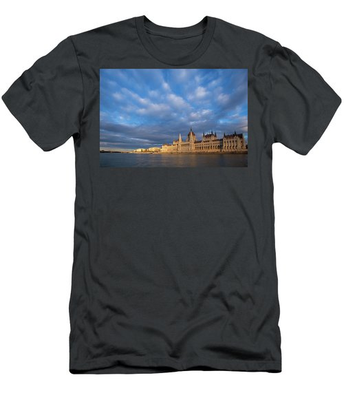Men's T-Shirt (Athletic Fit) featuring the photograph Parliament On The Danube by Davor Zerjav