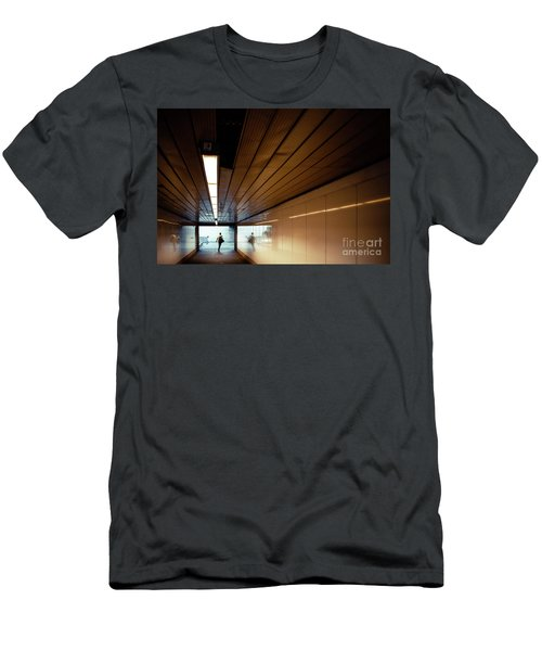 Passengers In A Hurry At The End Of A Tunnel At The Entrance To The Metro Station. Men's T-Shirt (Athletic Fit)