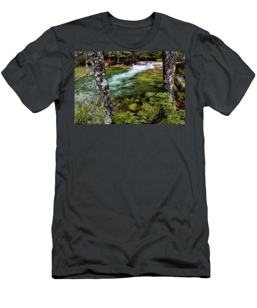 Men's T-Shirt (Athletic Fit) featuring the photograph Pemigewasset River, Basin Trail Nh by Michael Hubley