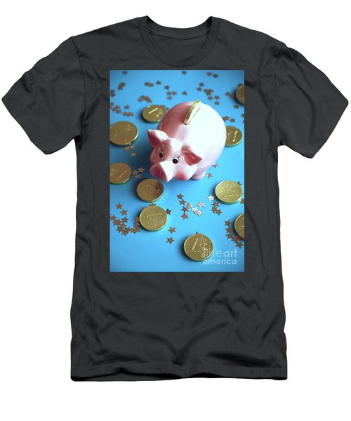 Piggy Bank On The Background With The  Chocoladen Coins Men's T-Shirt (Athletic Fit)