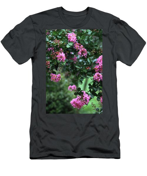 Men's T-Shirt (Athletic Fit) featuring the photograph Pink Crape Myrtle Tree by Trina Ansel