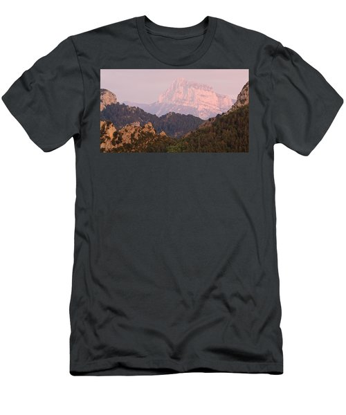 Men's T-Shirt (Athletic Fit) featuring the photograph Pink Pena Montanesa by Stephen Taylor