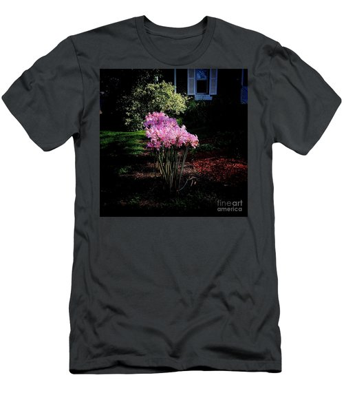 Pink Sunlit Flowers In The Neighborhood Men's T-Shirt (Athletic Fit)