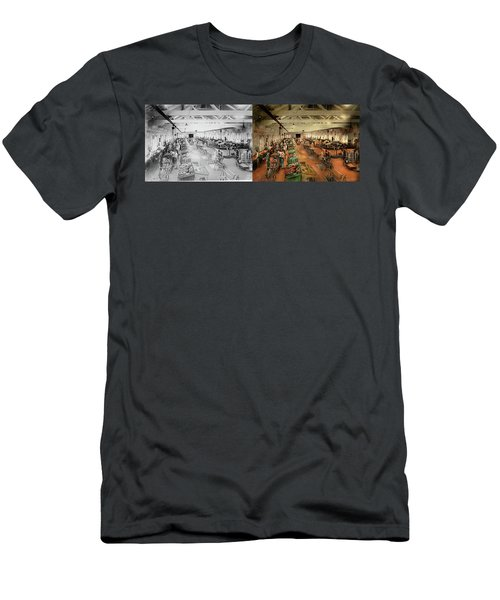 Men's T-Shirt (Athletic Fit) featuring the photograph Plane - Factory - Aircraft Repair 1919 - Side By Side by Mike Savad
