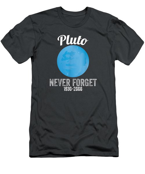 Pluto Never Forget T-shirt Funny Science Geek Nerd Tee Gift Men's T-Shirt (Athletic Fit)