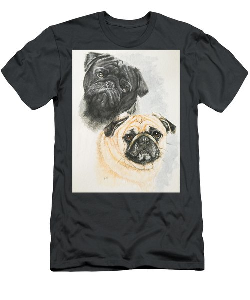 Men's T-Shirt (Athletic Fit) featuring the painting Pug Brothers In Watercolor by Barbara Keith