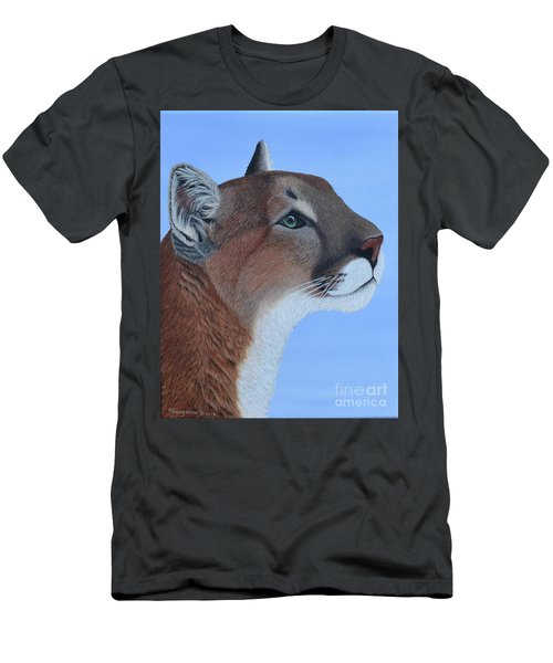 Men's T-Shirt (Athletic Fit) featuring the painting Puma by Tracey Goodwin