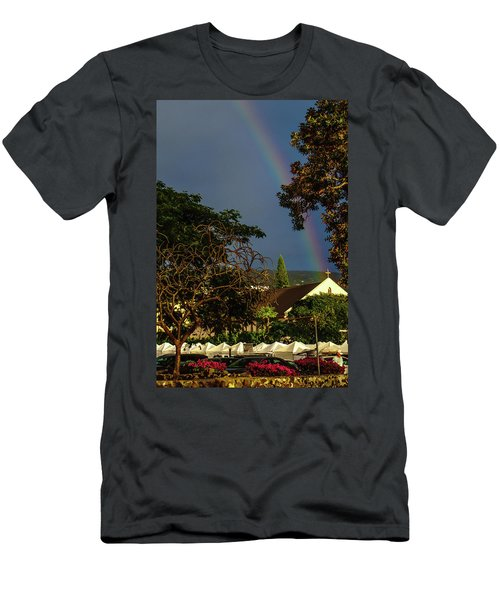 Rainbow Ended At The Church Men's T-Shirt (Athletic Fit)