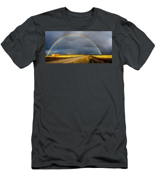 Rainbow Over Crop Land Men's T-Shirt (Athletic Fit)