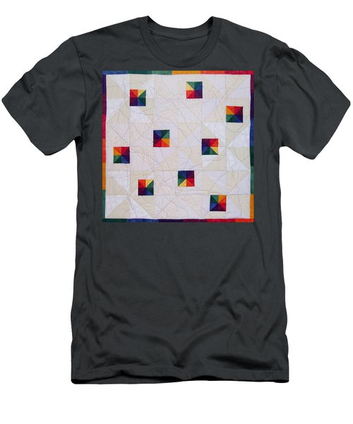 Rainbow Pinwheel Men's T-Shirt (Athletic Fit)