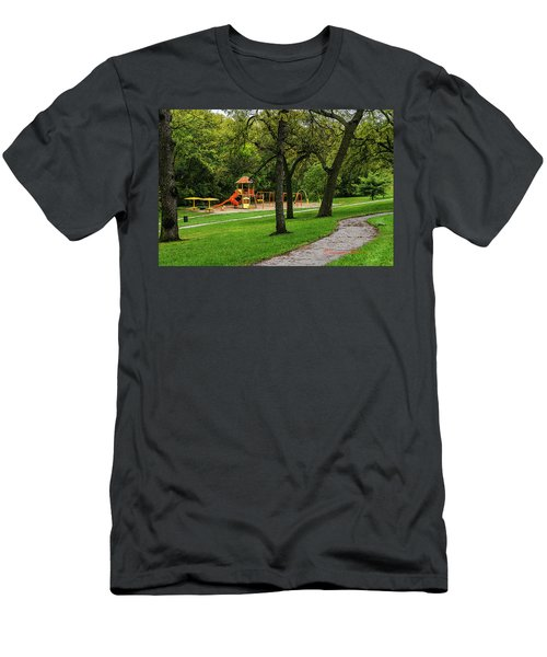 Men's T-Shirt (Athletic Fit) featuring the photograph Rainy Playground by Edward Peterson