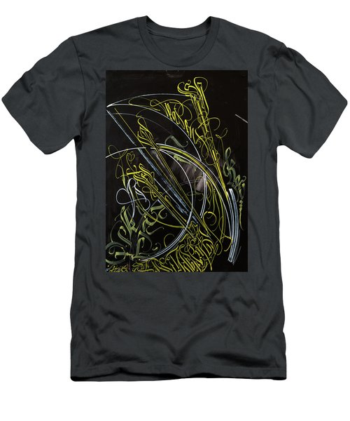 Rays Of The Sun. Calligraphic Abstract Men's T-Shirt (Athletic Fit)