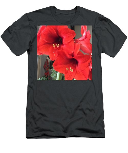 Red Amaryllis Men's T-Shirt (Athletic Fit)