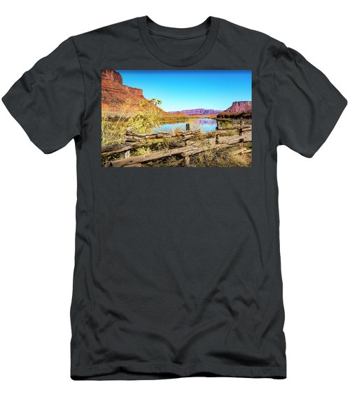 Men's T-Shirt (Athletic Fit) featuring the photograph Red Cliffs Canyon by David Morefield