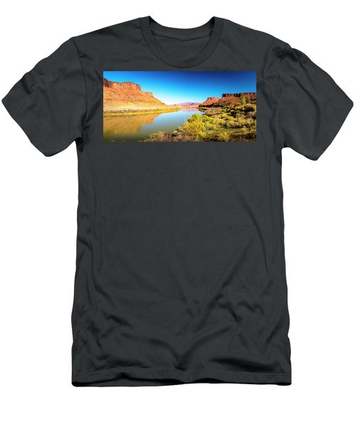 Men's T-Shirt (Athletic Fit) featuring the photograph Red Cliffs Canyon Panoramic by David Morefield