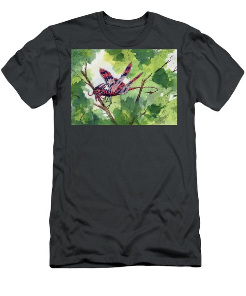 Men's T-Shirt (Athletic Fit) featuring the painting Red Dragonfly by Sam Sidders