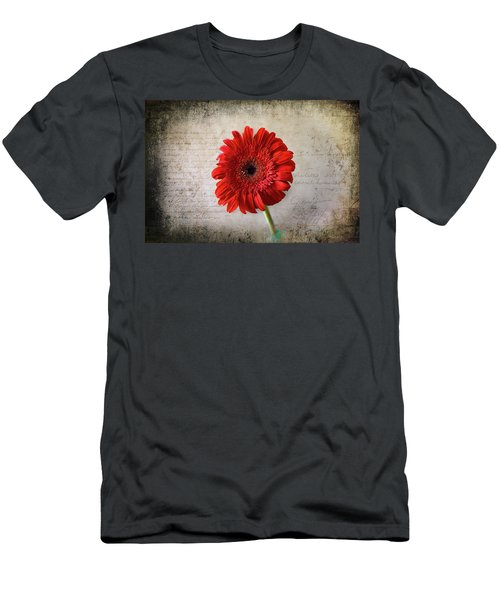 Men's T-Shirt (Athletic Fit) featuring the photograph Red Gerbera by Milena Ilieva