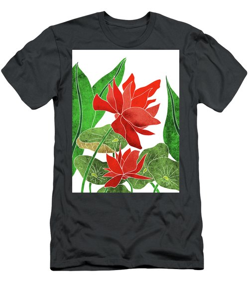 Red Lotus Flower - Botanical, Floral, Tropical Art - Modern, Minimal Decor - Red, Green Men's T-Shirt (Athletic Fit)