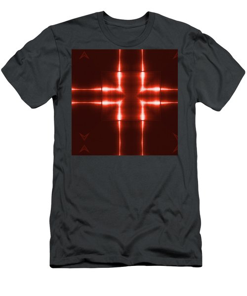 Red Reflecting Metallic Surface. Technological  Background.  Men's T-Shirt (Athletic Fit)
