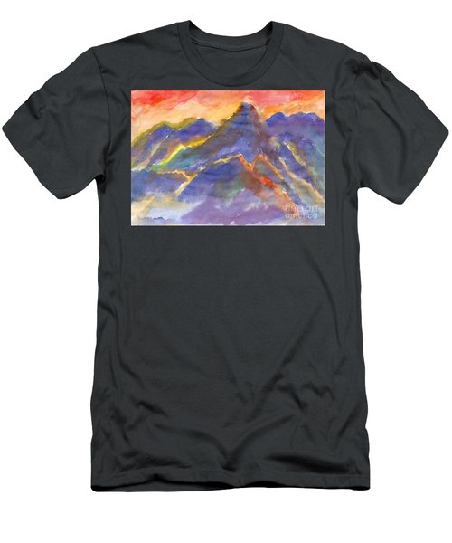 Red Sunset In The Mountains Men's T-Shirt (Athletic Fit)