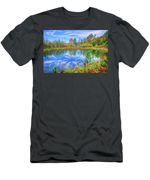 Men's T-Shirt (Athletic Fit) featuring the photograph Reflecting On Fall At The Pond by Lynn Bauer
