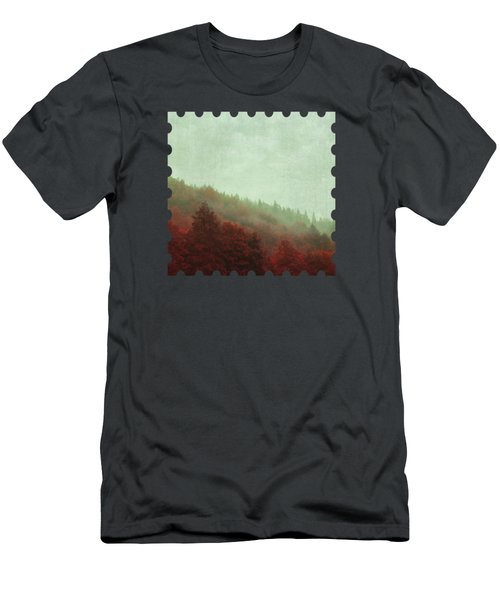 Retro Red Forest In Fog Men's T-Shirt (Athletic Fit)