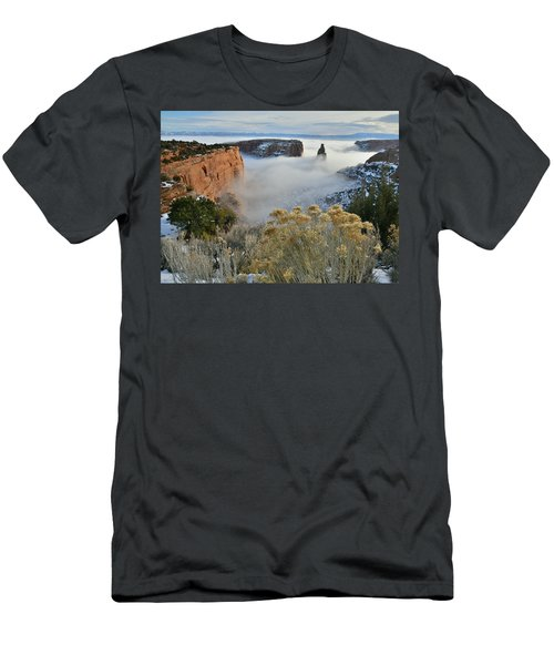 Rim Rock Drive View Of Fogged Independence Canyon Men's T-Shirt (Athletic Fit)