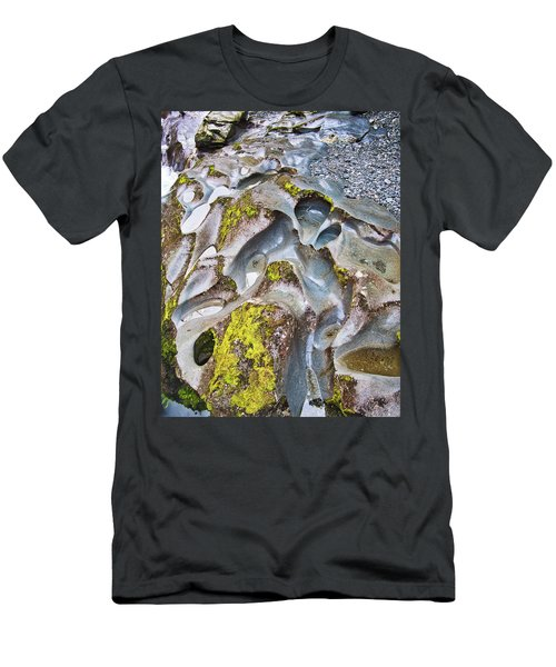 Men's T-Shirt (Athletic Fit) featuring the photograph Rock Grooves 2 - The Chasm - New Zealand by Steven Ralser