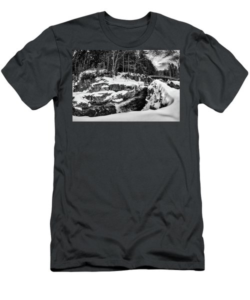 Men's T-Shirt (Athletic Fit) featuring the photograph Rocky Gorge Foot Bridge N H by Michael Hubley