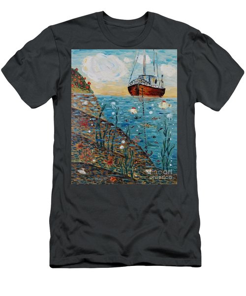 Men's T-Shirt (Athletic Fit) featuring the painting Safe Harbor by Maria Langgle